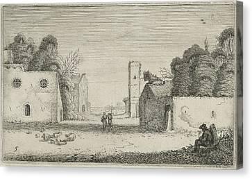 Figures In Ruins Of A Village, Jan Van De Velde II Canvas Print by Jan Van De Velde (ii)