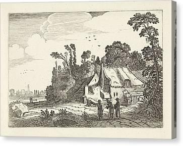 Country Roads Canvas Print - Figures On A Country Road Near A Farm, Jan Van De Velde II by Jan Van De Velde (ii)