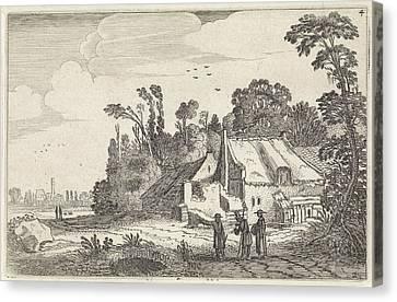 Country Roads Canvas Print - Figures On A Country Road Near A Farm, Print Maker Jan Van by Jan Van De Velde Ii