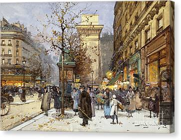 Bare Trees Canvas Print - Figures On Le Boulevard St. Denis At Twilight by Eugene Galien-Laloue