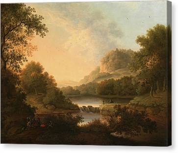 Figures With A Donkey And Dog Crossing A Weir Signed Canvas Print