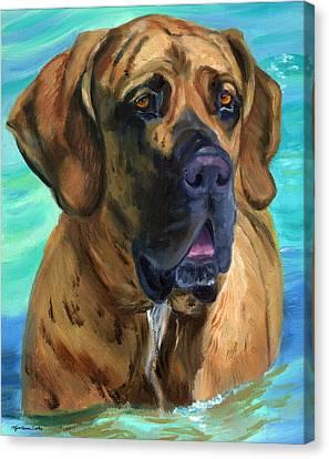 Fila Brasileiro...swim Canvas Print by Lyn Cook