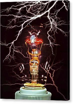 Old Light Bulb Canvas Print - Filament by Daniel Hagerman