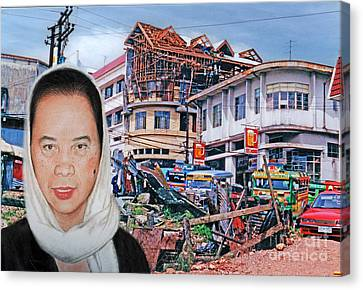 Filipina Woman And Her Earthquake Damage City Version II Canvas Print by Jim Fitzpatrick