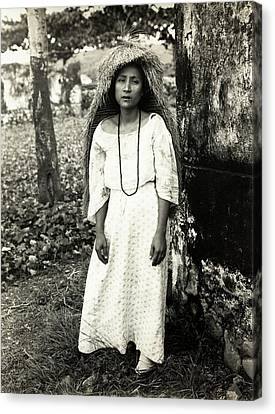 Filipino Woman In Traditional Rain Cape Canvas Print by American Philosophical Society