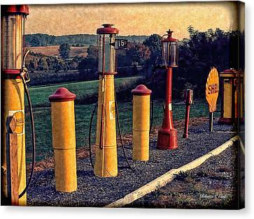 Fill 'er Up Vintage Fuel Gas Pumps Canvas Print by Bellesouth Studio