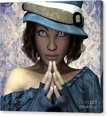 Canvas Print featuring the painting Fille Au Chapeau by Sandra Bauser Digital Art