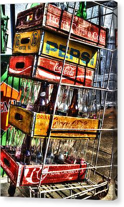 Vintage Soda Bottles Canvas Print - Filling Station Sodas by Michael Eingle