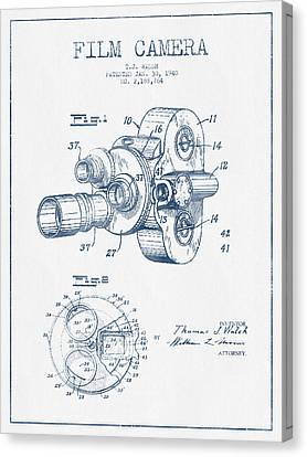 Film Camera Patent Drawing From 1938 - Blue Ink Canvas Print by Aged Pixel