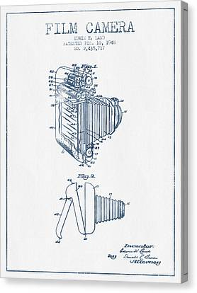 Film Camera Patent From 1948- Blue Ink Canvas Print by Aged Pixel