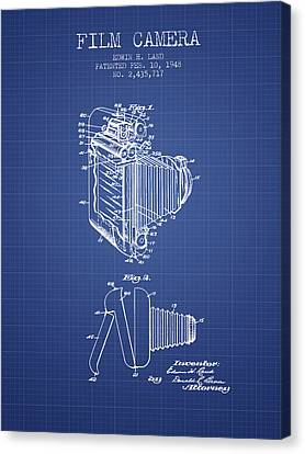 Film Camera Patent From 1948 - Blueprint Canvas Print by Aged Pixel