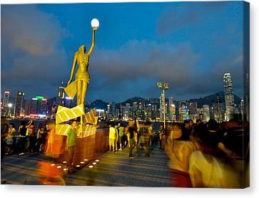 Film Statue At Avenue Of Stars Canvas Print by Hisao Mogi
