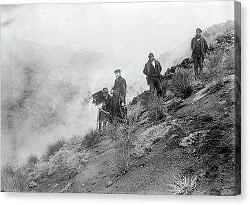 Filming Mount Etna Eruption Canvas Print by Library Of Congress