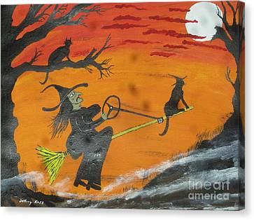 Well Endowed Canvas Print - Power Steering Halloween Broom. by Jeffrey Koss