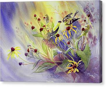 Finches To The Feast Canvas Print by Gail Vass