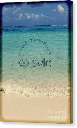 Find Yourself Go Swim Tropical Beach Motivational Quote Canvas Print