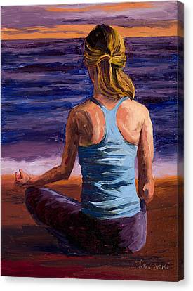 Posing Canvas Print - Finding Peace Sukhasana by Mary Giacomini