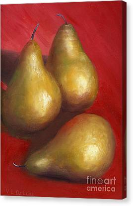 Fine Art Hand Painted Golden Pears Red Background Canvas Print by Lenora  De Lude