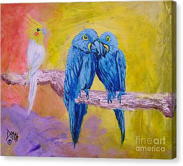 Canvas Print featuring the painting Fine Feathered Friends 1 by Donna Dixon