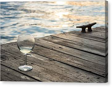 Finger Lakes Wine Tasting - Wine Glass On The Dock Canvas Print by Photographic Arts And Design Studio