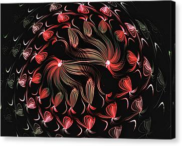 Canvas Print featuring the digital art Finger Painted Fractal by Lea Wiggins