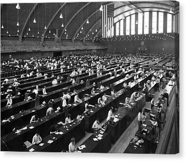 Fingerprinting At The Federal Armory 1945 Canvas Print by Mountain Dreams