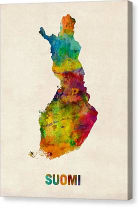 Finland Canvas Print - Finland Watercolor Map Suomi by Michael Tompsett