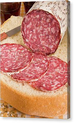 Finocchiona, Tuscan Salami With Fennel Canvas Print by Nico Tondini