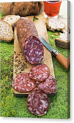 Finocchiona, Tuscan Salami With Wild Canvas Print by Nico Tondini