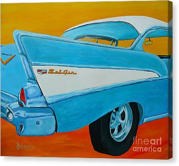 57 Chevy Canvas Print - Fins And Curves by Anthony Dunphy