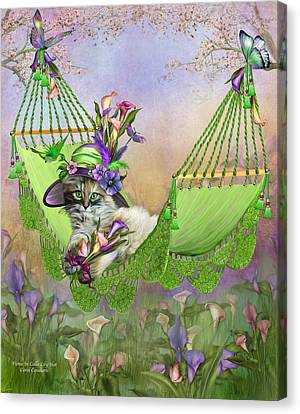Fiona In Calla Lily Hat Canvas Print by Carol Cavalaris