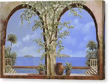 Fiori Bianchi Sulla Parete Canvas Print by Guido Borelli