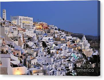 Thira Canvas Print - Fira Town During Dusk Time by George Atsametakis