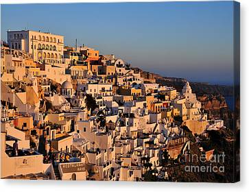Architecture Canvas Print - Fira Town During Sunset by George Atsametakis