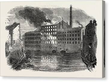 Fire And Explosion At Marslands Park Mills Canvas Print