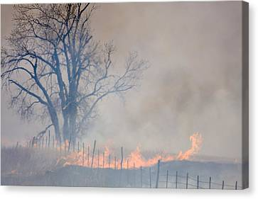 Canvas Print featuring the photograph Fire And Fence Line by Scott Bean