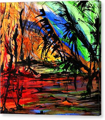 Canvas Print featuring the painting Fire And Flood by Helen Syron