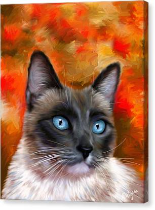 Fire And Ice - Siamese Cat Painting Canvas Print by Michelle Wrighton