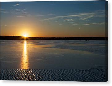 Canvas Print featuring the photograph Fire And Ice - Sunset On An Icy Lake by Jane Eleanor Nicholas