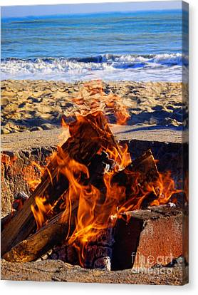 Canvas Print featuring the photograph Fire At The Beach by Mariola Bitner