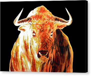 Element Fire Bull In Black Canvas Print by J- J- Espinoza