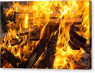 Fire - Burning Wood Canvas Print by Matthias Hauser