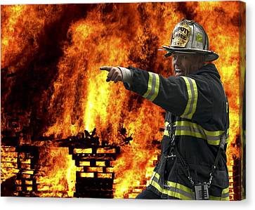 Fire Chief On The Scene Canvas Print