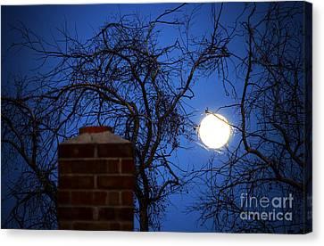 Fire Chimney Moon Canvas Print