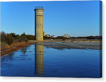 Fire Control Tower 3 Icy Reflection Canvas Print by Bill Swartwout