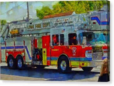Fire Engine In Parade Canvas Print by Dan Sproul