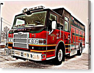 Fire Engine Red Canvas Print by Frozen in Time Fine Art Photography
