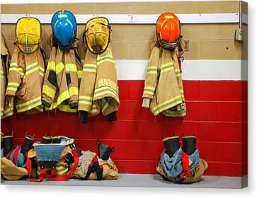 Civil Service Work Canvas Print - Fire Equipment At Rest by James Kirkikis