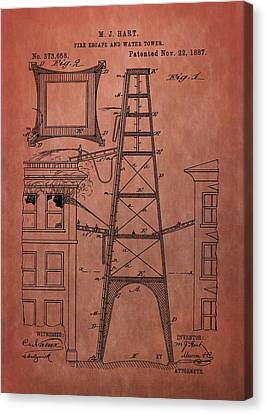 Fire Escape And Water Tower Patent Fireman Canvas Print by Dan Sproul