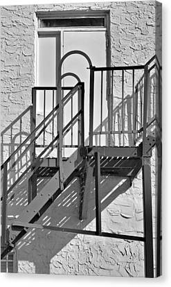 Fire Escape Canvas Print - Fire Escape In Black And White by Rudy Umans